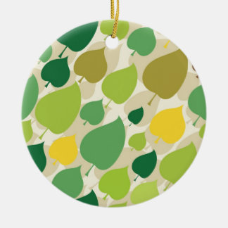 Colorful Nature Pattern Green Yellow Leaves Ceramic Ornament