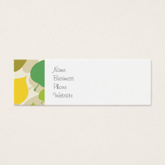 Colorful Nature Pattern Green Yellow Leaves Mini Business Card