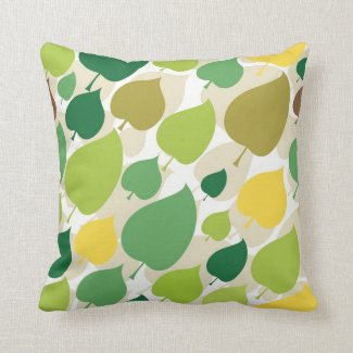 Colorful Nature Pattern Green Yellow Leaves Throw Pillow