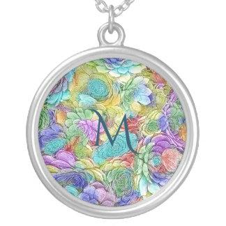 Colorful Nature Succulent Plants Monogram Silver Plated Necklace