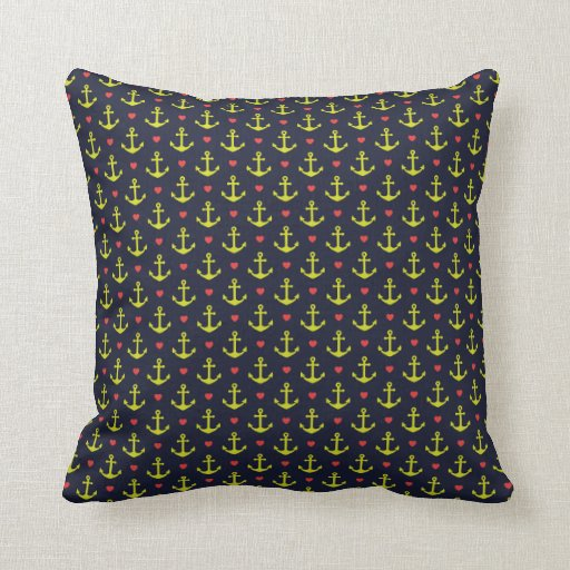Nautical Cushion Knitting Pattern : Colorful nautical Anchor Pattern Pillow Zazzle