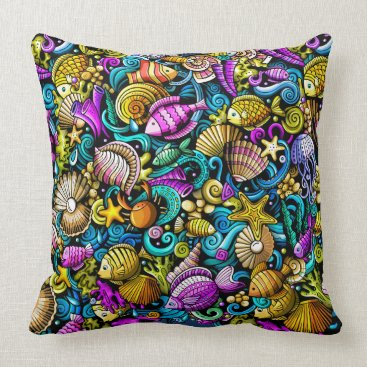 Professional Business Colorful Nautical Fish Beach Pillow