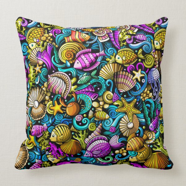 Colorful Nautical Fish Beach Pillow