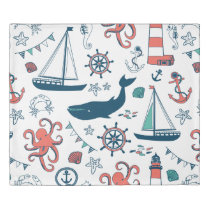 Colorful Nautical Marine Life Cute Illustration Duvet Cover
