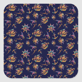 Colorful nautical pattern custom background square sticker