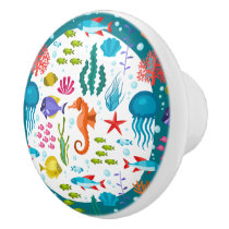 Colorful Nautical Sea Animals & Plants Pattern Ceramic Knob