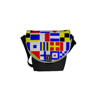 Colorful Nautical Signal Flags Pattern Courier Bag