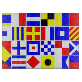 Colorful Nautical Signal Flags Pattern Cutting Board