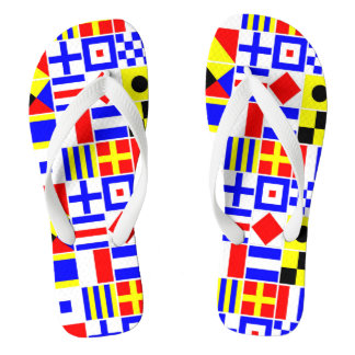 Colorful Nautical Signal Flags Pattern Flip Flops