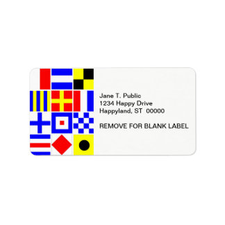 Colorful Nautical Signal Flags Pattern Label