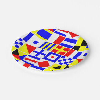 Colorful Nautical Signal Flags Pattern Paper Plate
