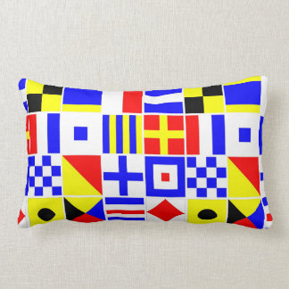 Colorful Nautical Signal Flags Pattern Pillows