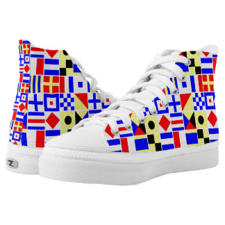 Colorful Nautical Signal Flags Pattern Printed Shoes