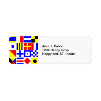 Colorful Nautical Signal Flags Pattern Return Address Label