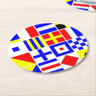 Colorful Nautical Signal Flags Pattern Round Paper Coaster