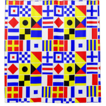 Colorful Nautical Signal Flags Pattern Shower Curtain
