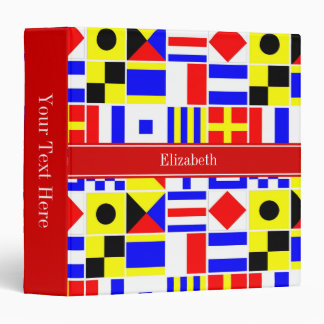 Colorful Nautical Signal Flags Red Name Monogram 3 Ring Binder