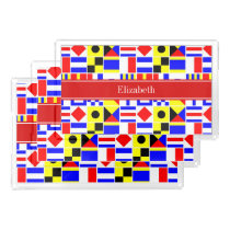 Colorful Nautical Signal Flags Red Name Monogram Acrylic Tray