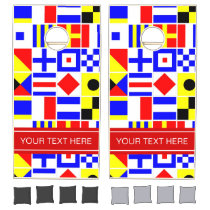 Colorful Nautical Signal Flags Red Name Monogram Cornhole Set