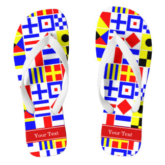 Colorful Nautical Signal Flags Red Name Monogram Flip Flops