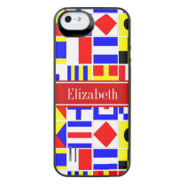 Colorful Nautical Signal Flags Red Name Monogram iPhone SE/5/5s Battery Case