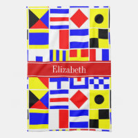 Colorful Nautical Signal Flags Red Name Monogram Kitchen Towel