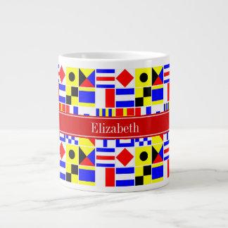 Colorful Nautical Signal Flags Red Name Monogram Large Coffee Mug