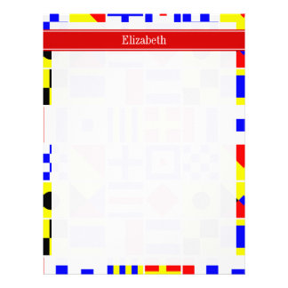 Colorful Nautical Signal Flags Red Name Monogram Letterhead