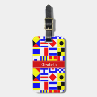 Colorful Nautical Signal Flags Red Name Monogram Luggage Tag