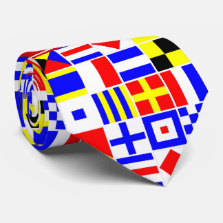 Colorful Nautical Signal Flags Red Name Monogram Neck Tie