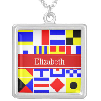 Colorful Nautical Signal Flags Red Name Monogram Custom Jewelry