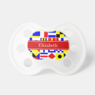 Colorful Nautical Signal Flags Red Name Monogram Pacifier