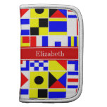 Colorful Nautical Signal Flags Red Name Monogram Planners