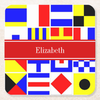 Colorful Nautical Signal Flags Red Name Monogram Square Paper Coaster