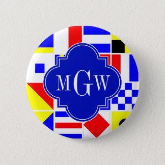 Colorful Nautical Signal Flags Royal 3I Monogram Button