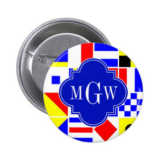 Colorful Nautical Signal Flags Royal 3I Monogram Button