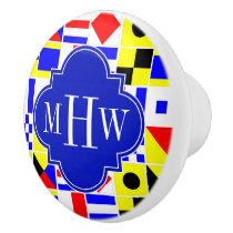 Colorful Nautical Signal Flags Royal 3I Monogram Ceramic Knob