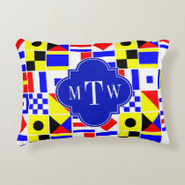 Colorful Nautical Signal Flags Royal 3I Monogram Decorative Pillow