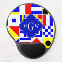 Colorful Nautical Signal Flags Royal 3I Monogram Gel Mouse Pad