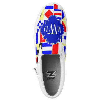 Colorful Nautical Signal Flags Royal 3I Monogram Printed Shoes