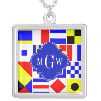 Colorful Nautical Signal Flags Royal 3I Monogram Square Pendant Necklace