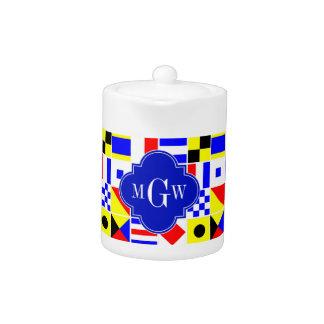 Colorful Nautical Signal Flags Royal 3I Monogram Teapot