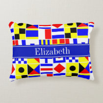 Colorful Nautical Signal Flags Royal Name Monogram Accent Pillow