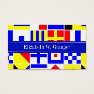 Colorful Nautical Signal Flags Royal Name Monogram Business Card
