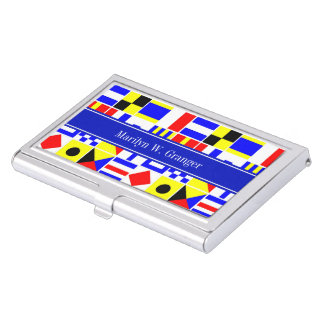 Colorful Nautical Signal Flags Royal Name Monogram Business Card Case