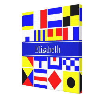 Colorful Nautical Signal Flags Royal Name Monogram Stretched Canvas Prints