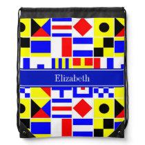 Colorful Nautical Signal Flags Royal Name Monogram Drawstring Backpack