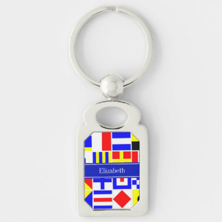 Colorful Nautical Signal Flags Royal Name Monogram Keychain