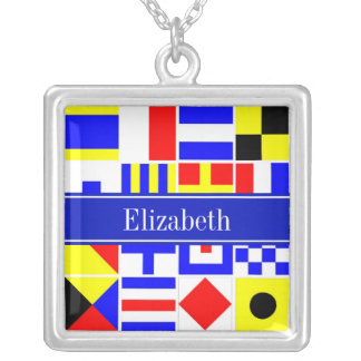 Colorful Nautical Signal Flags Royal Name Monogram Personalized Necklace