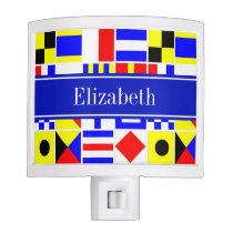 Colorful Nautical Signal Flags Royal Name Monogram Night Light